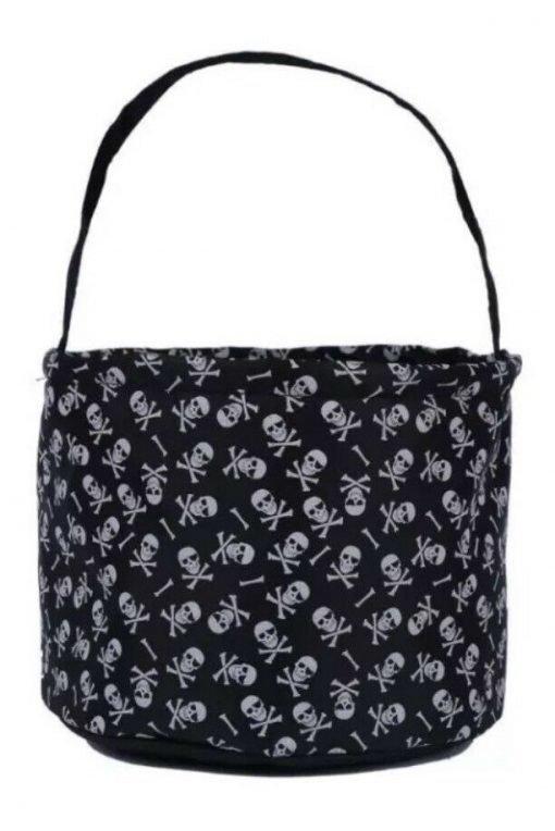 Black and white skull halloween basket