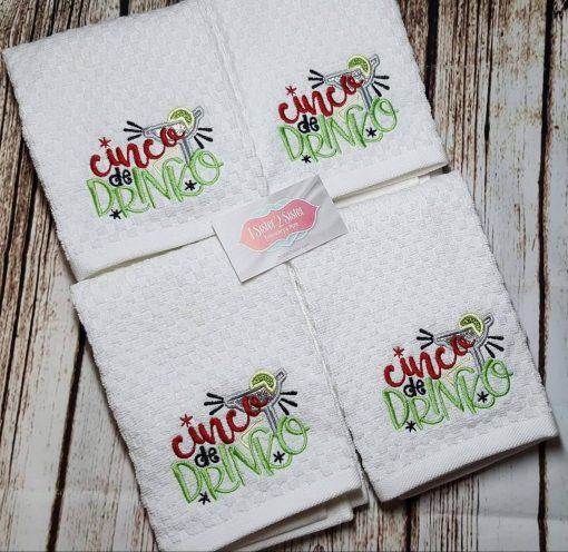 Cinco de drinko dish towel