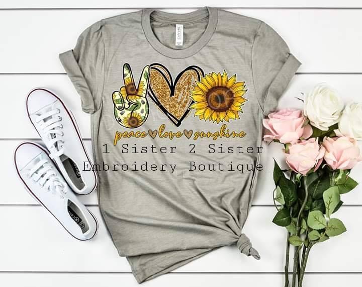 peace, love, sunshine tee shirt