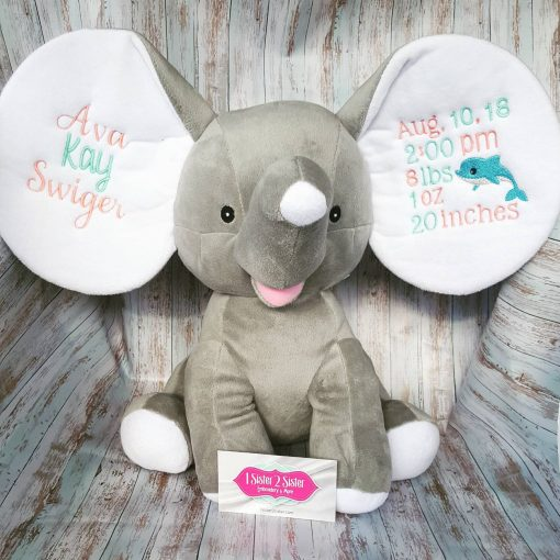 Birth announcement elephant customized with birth stats and name.