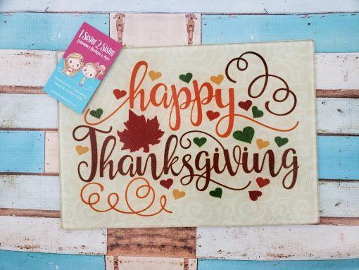 Happy Thanksgiving glass cutting board