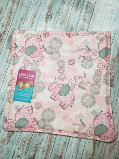 Elephant burp cloth in pink and white