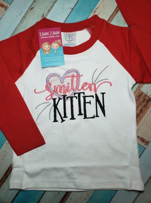 Smitten Kitten Raglan Tee Shirt for Kids.