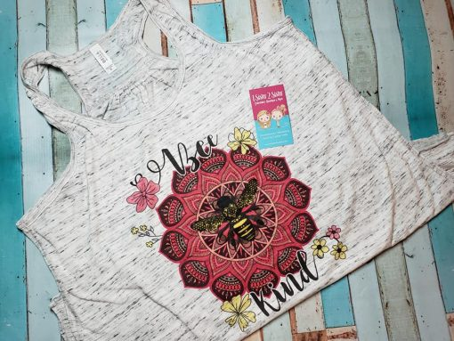 Bee kind flower design on a razorback tank top