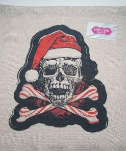 Skull & crossbones Christmas throw pillow case.