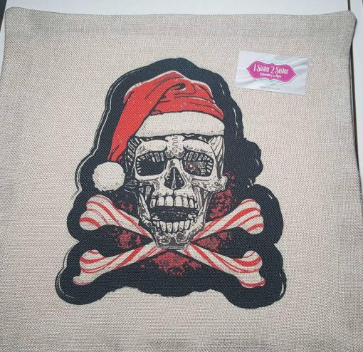 Skull & crossbones Christmas throw pillow case.