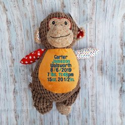 Patchwork Monkey Toy with Embroidered Birth Stats