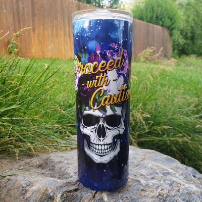Flower Skull Blue Water Boittle – 20 0z.
