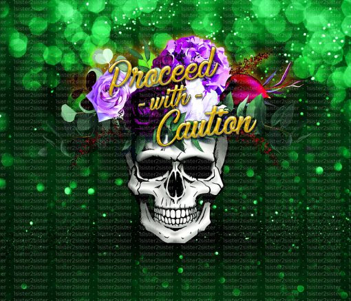 Flower skull green printable download design