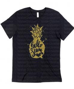 Hello summer pineapple tee shirt