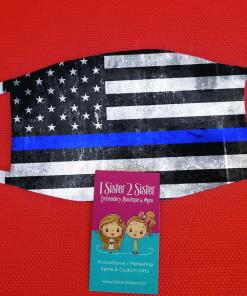 blue line flag mask design