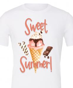 Sweet summer white tee shirt with ice cream
