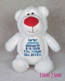Polar Bear birth announcement embroidered plush toy